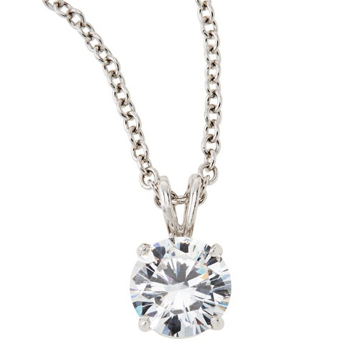 fantasia by deserio cz solitaire pendant necklace