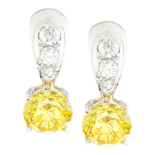 fantasia by deserio tapered canary u0026 white cubic zirconia dangle u0026 dro