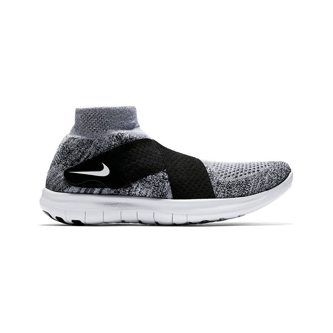 Men's Nike Free Rn Motion Flyknit 2017 Running Shoe - Color: Black/Whi.