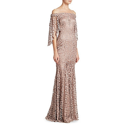 Theia Lace Off-The-Shoulder Column Gown