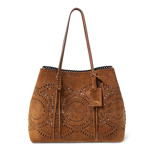 Polo Ralph Lauren Laser-Cut Suede Tote Clove One Size