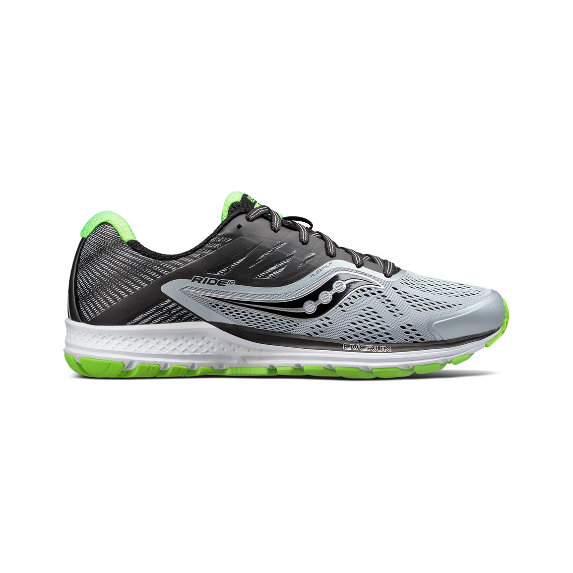 Men's Saucony Ride 10 Running Shoe - Color: Grey/Black/Slime (Regular .