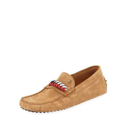 Tod's Braided-Vamp Suede Driver, Tan