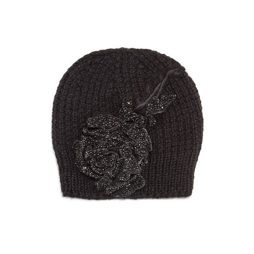 aee2d372a889a Jennifer Behr Crystal Rose Knit Beanie Hat