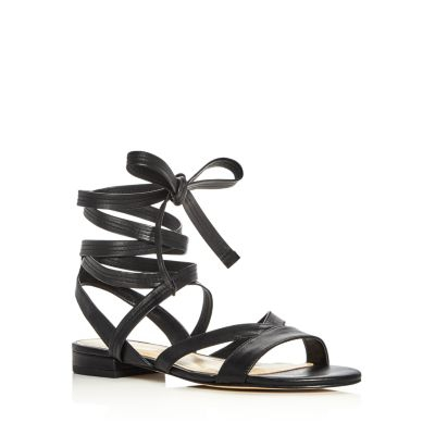 Ivanka Trump Crisa Leather Lace Up Ankle Tie Sandals