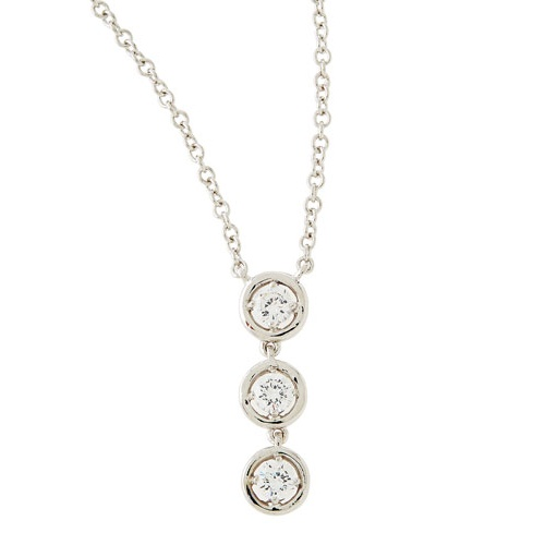 fantasia by deserio triple round cz drop pendant necklace